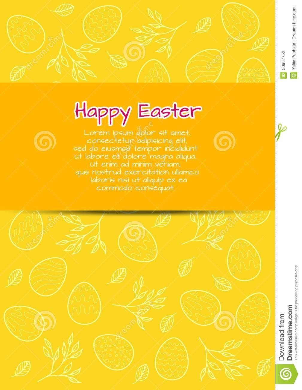Download Flyer Template For Easter Stock Vector. Illustration Of Happy -  50967752