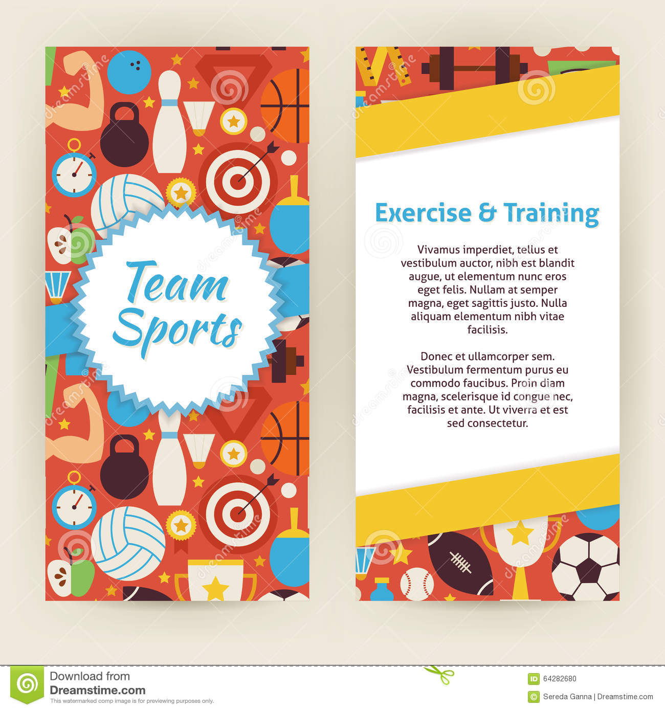 Flyer Template Of Exercise And Training Sport Objects And Elemen