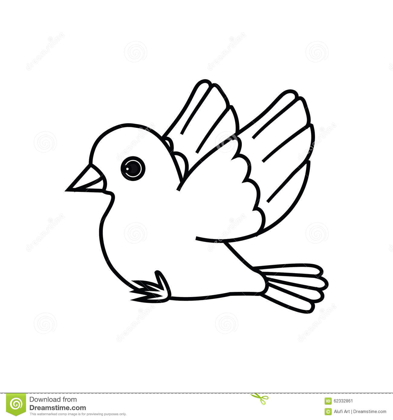 Flying Bird Outline Ready To Perch Stock Vector