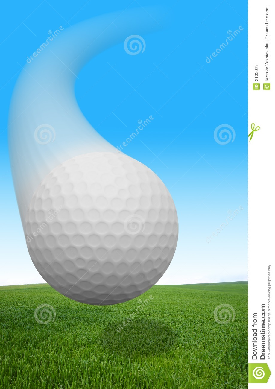 Flying Golf Ball stock photo Image of closeup grass