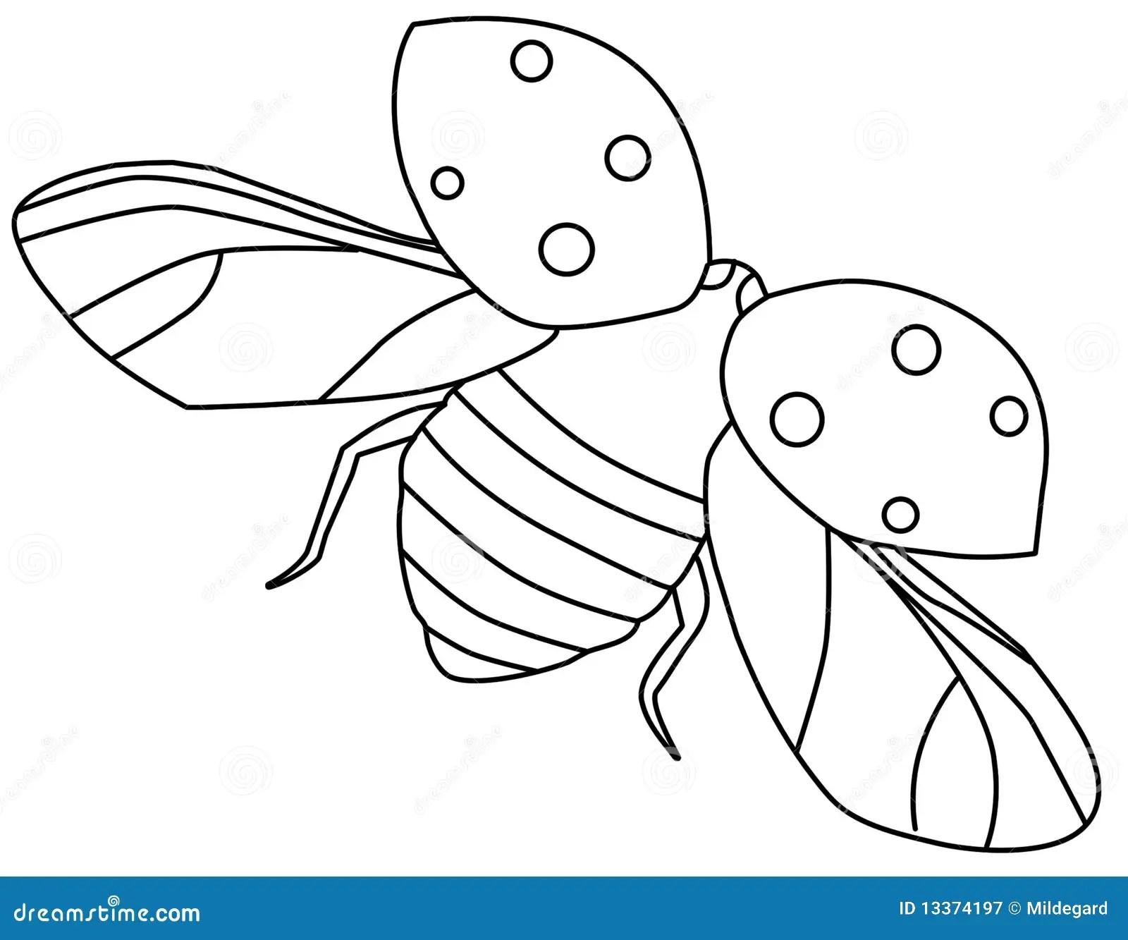 Flying ladybug contour stock illustration. Illustration of