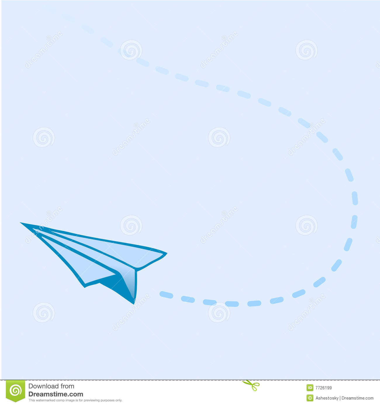 Flying Paper Airplane Stock Vector Illustration Of Trace
