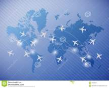 Flying Planes Over World Map Illustration Royalty Free