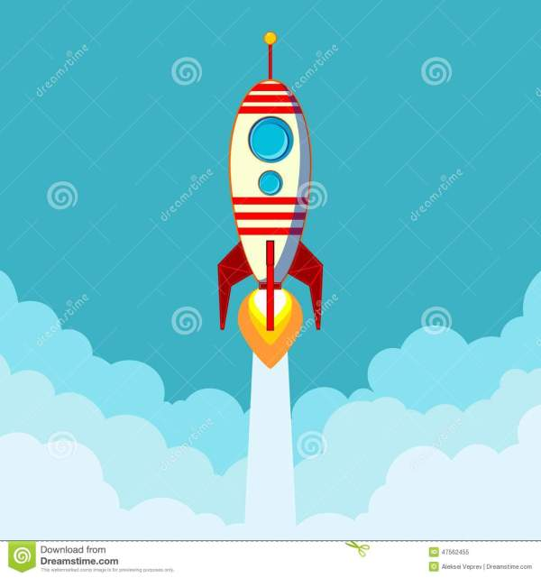 Flying Rocket With Space Text Stock Vector