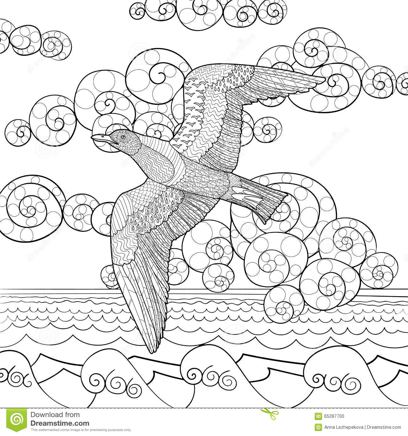 Flying Seagull With High Details Stock Vector