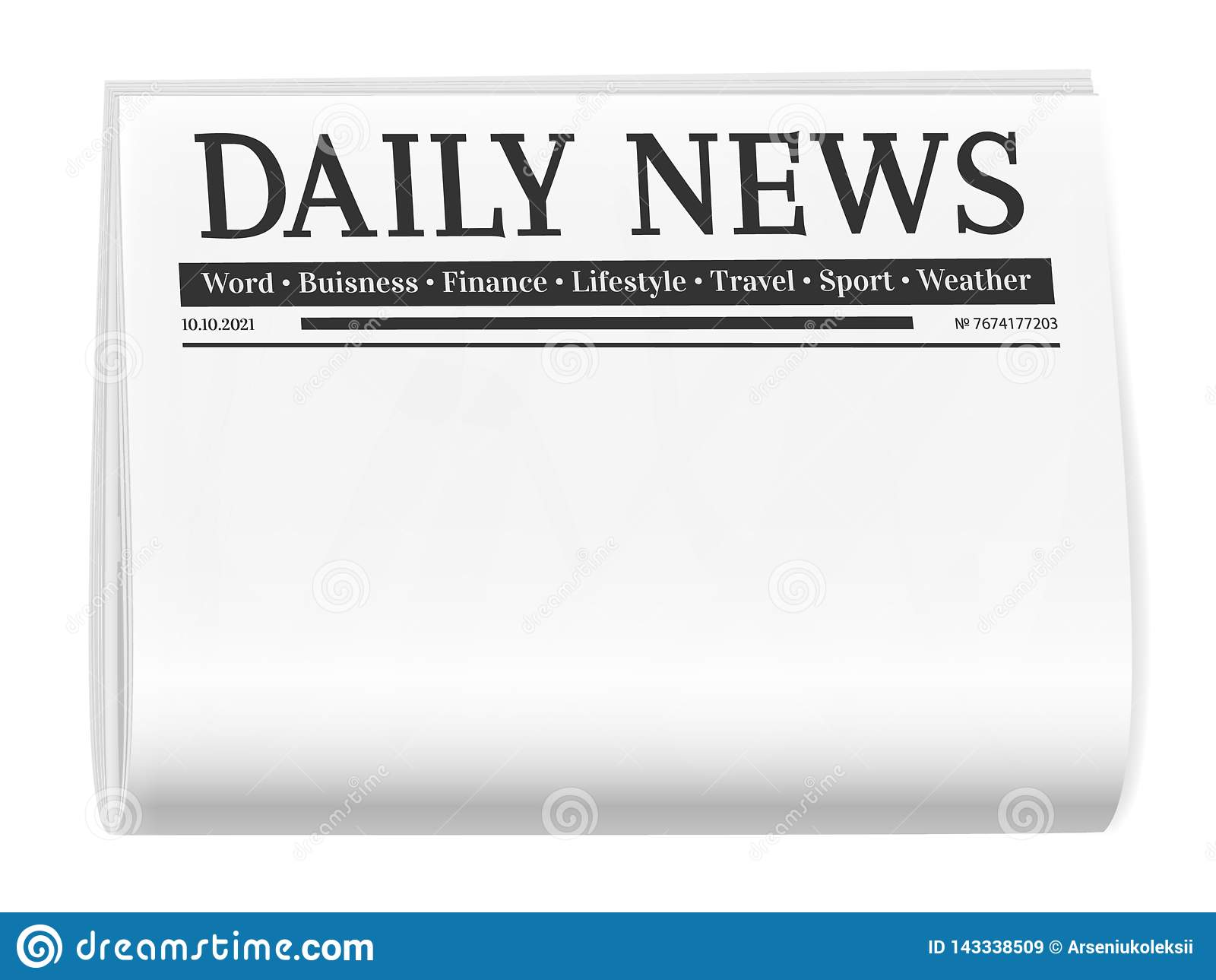 Folded Newspaper Blank Background For News Page Template