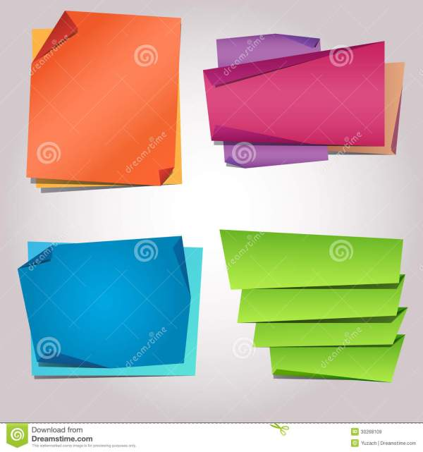 Folded Paper Blank Sticker Templates Royalty Free Stock