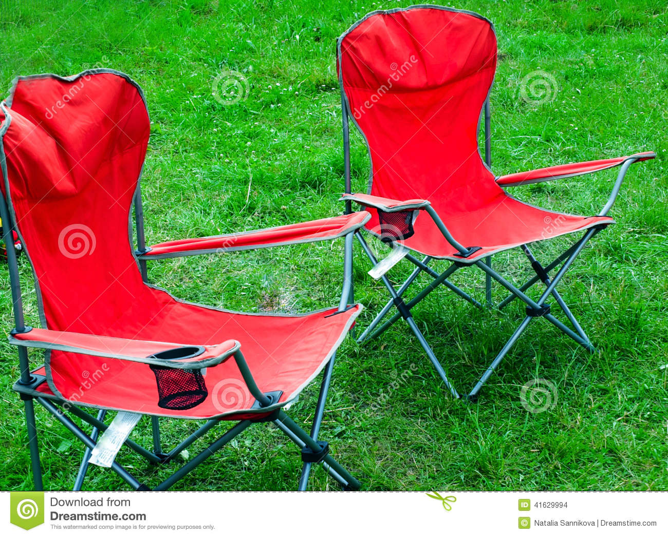 green fishing chair club chairs cheap folding for outdoor recreation spring grass stock