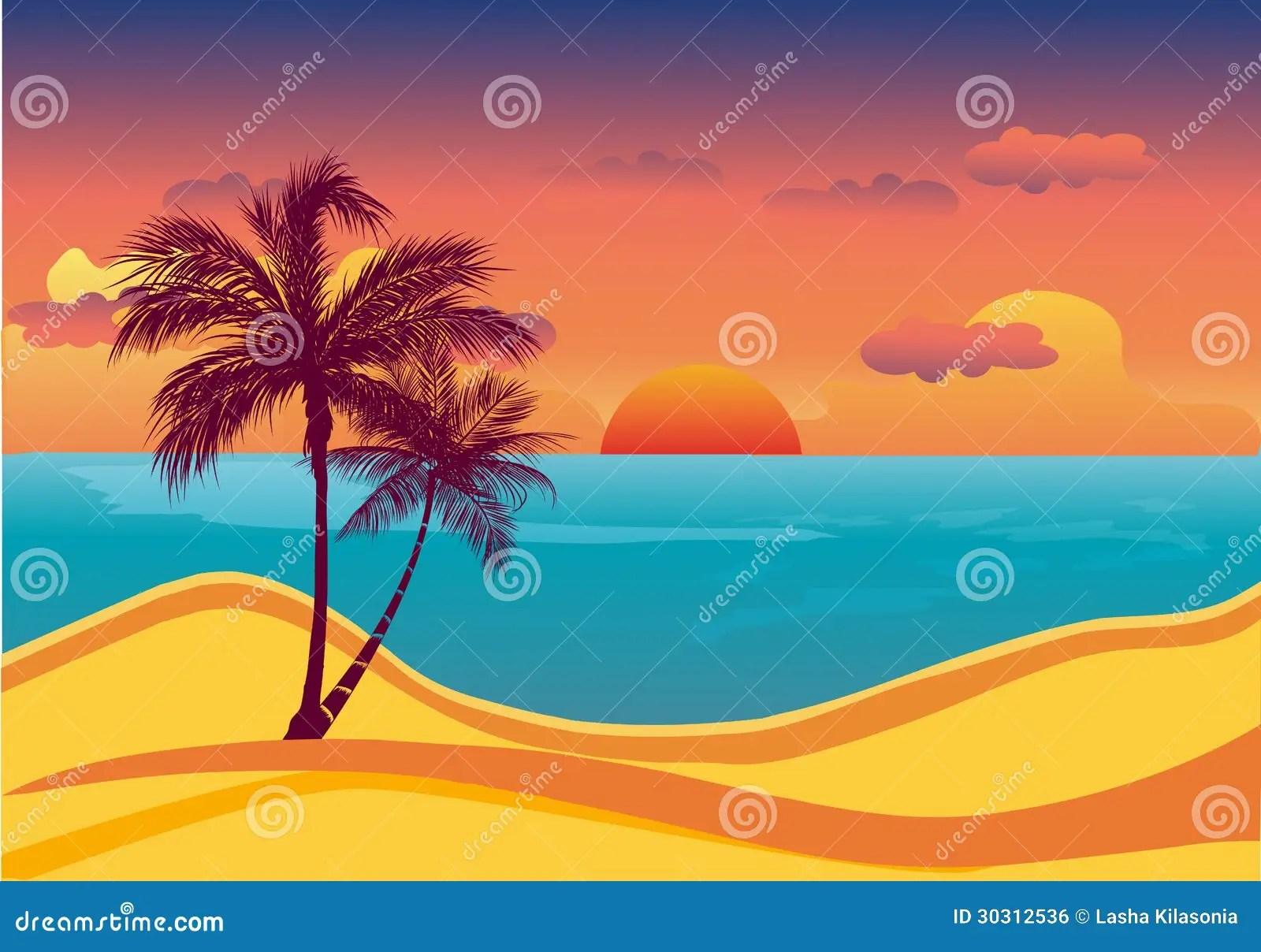 Tramonto Tropicale Della Spiaggia Immagine Stock Libera da