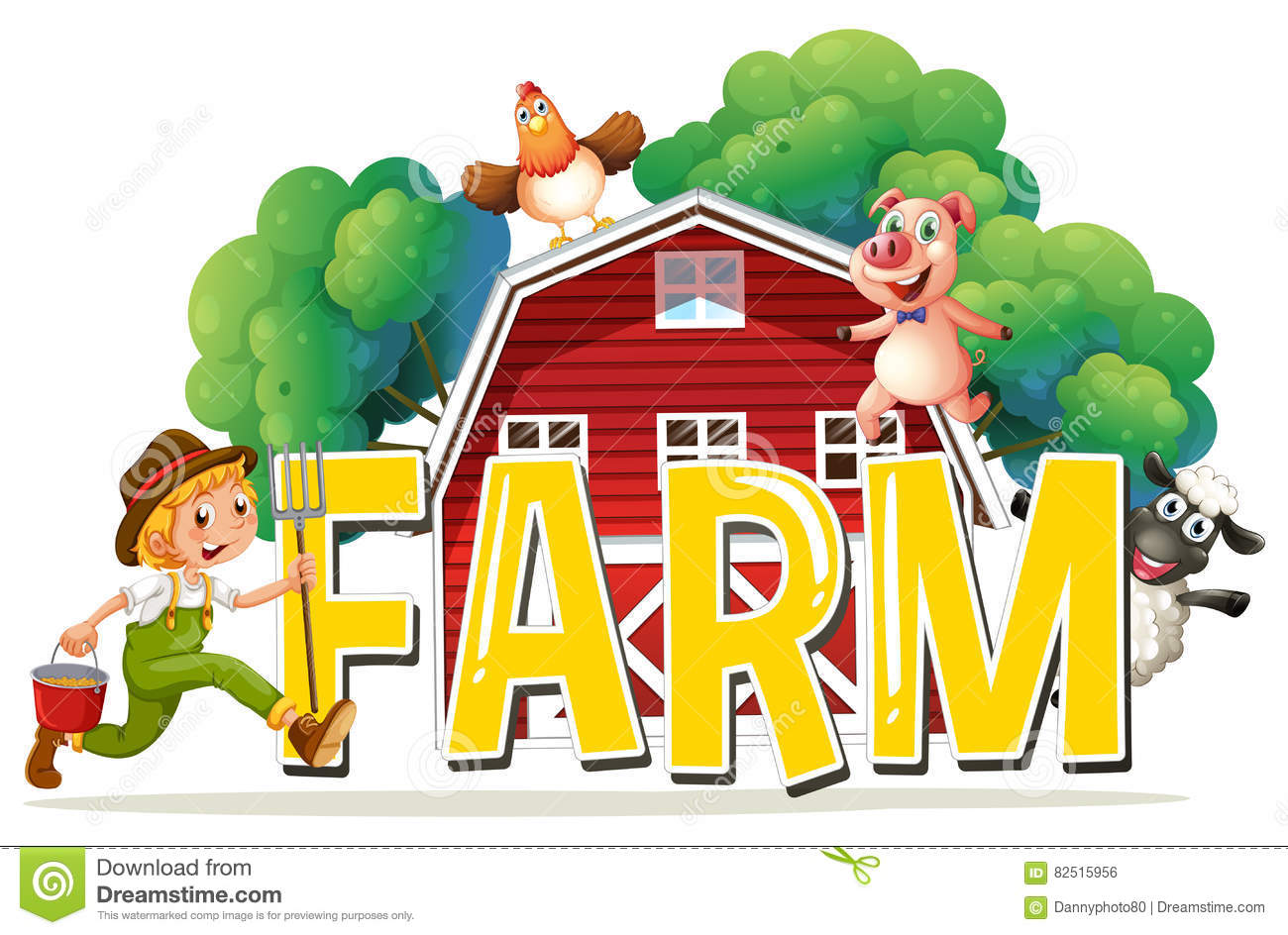 Font Design With Word Farm With Farmer And Animals Stock
