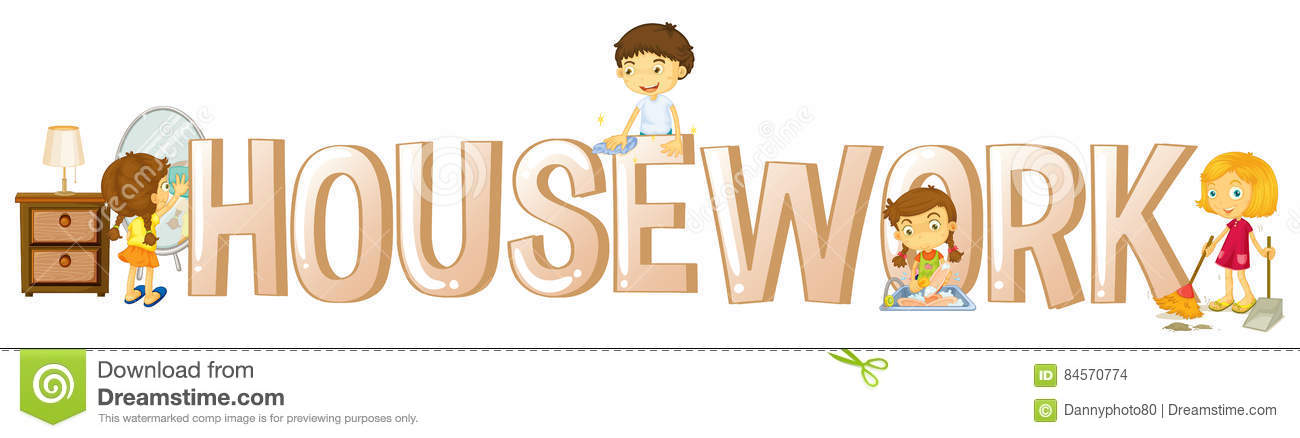 Font Design For Word Housework With Kids Doing Chores