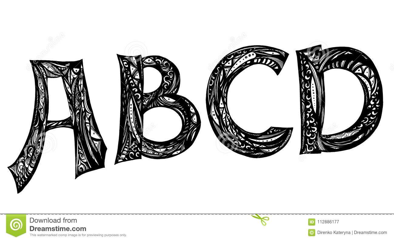 Calligraphy Abcd Letters