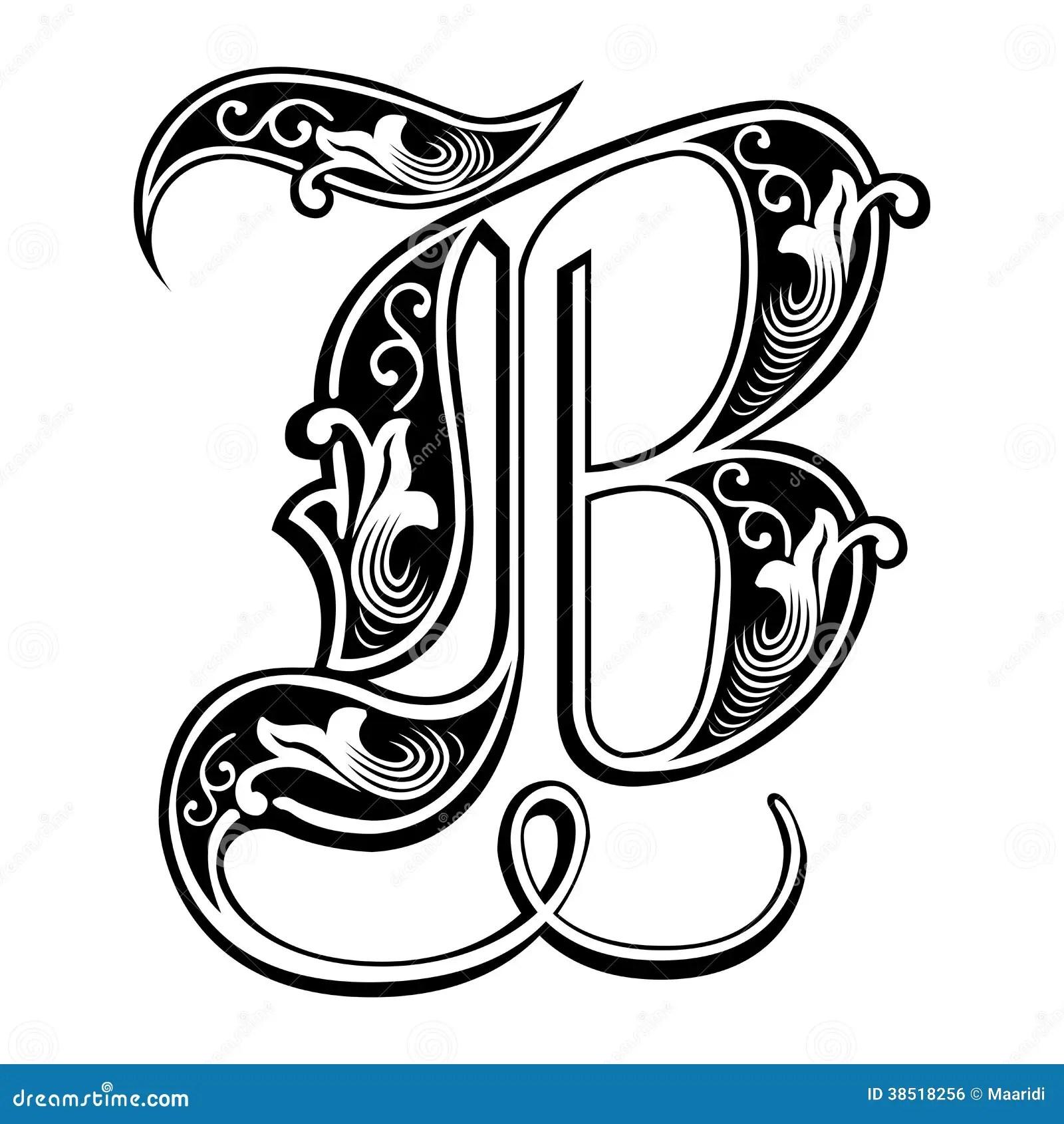 Fonte Gotica Guarnita Di Stile, Lettera B Illustrazione