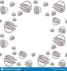 Food Background Burgers Hand Drawn Illustration For Your Design Stock Vector Illustration of drawing delicious: 129275575