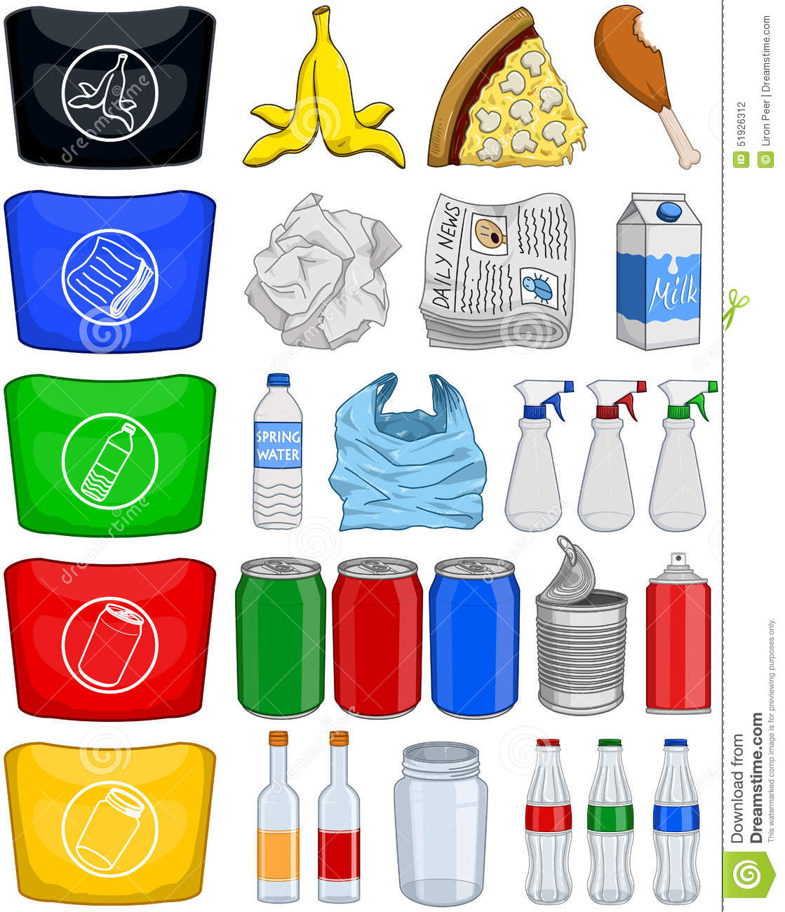 Food Bottles Cans Paper Trash Recycle Pack Stock Vector