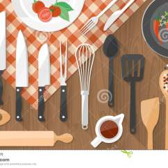 Kitchen Food Preparation Table Upgrading Countertops And Cooking Banner Stock Vector. Illustration Of ...
