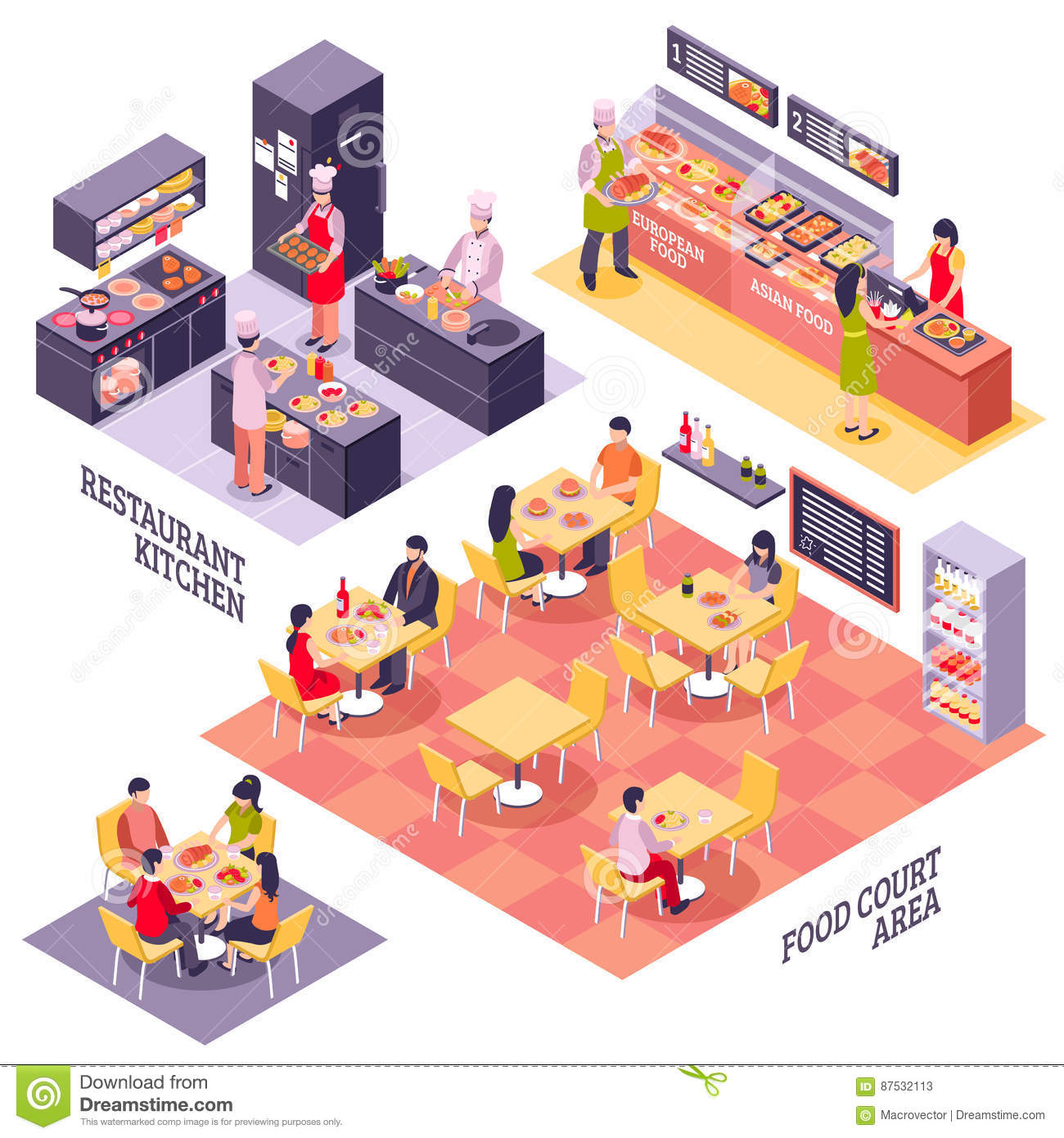 spatial diagram of fast food xs650 wiring court design concept stock vector image 87532113