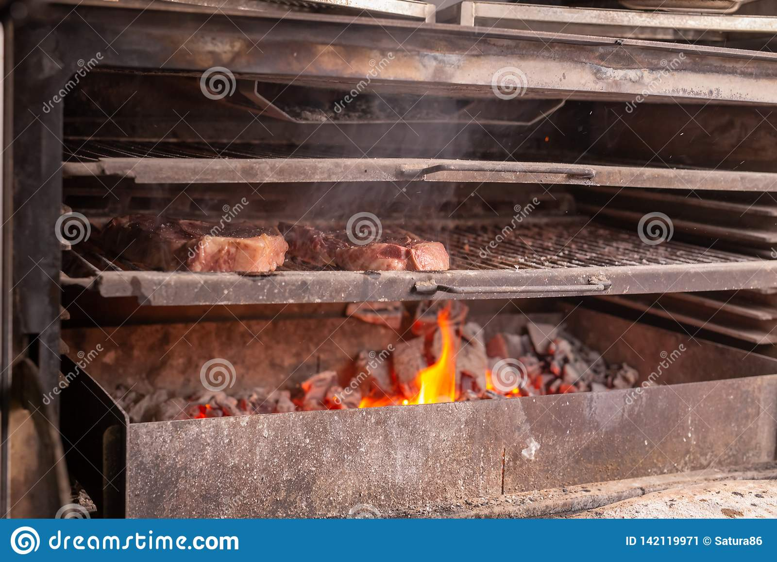 Food Craft And Delicious Concept Cooking Steak On A Grill Stock Image Image Of Angus Outside 142119971