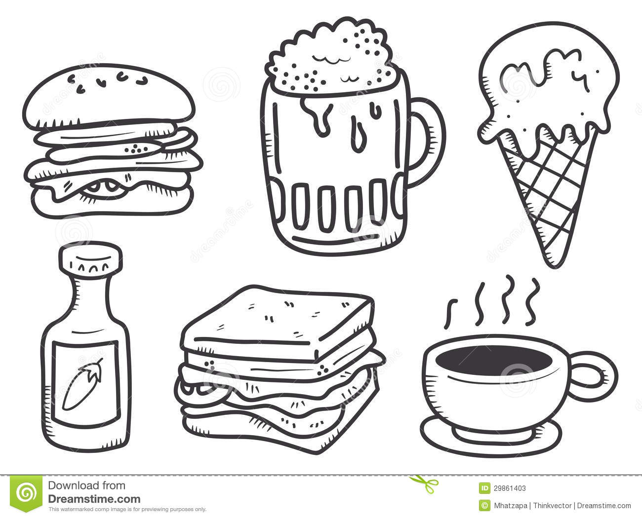 Food And Drink Doodle Stock Illustration Illustration Of