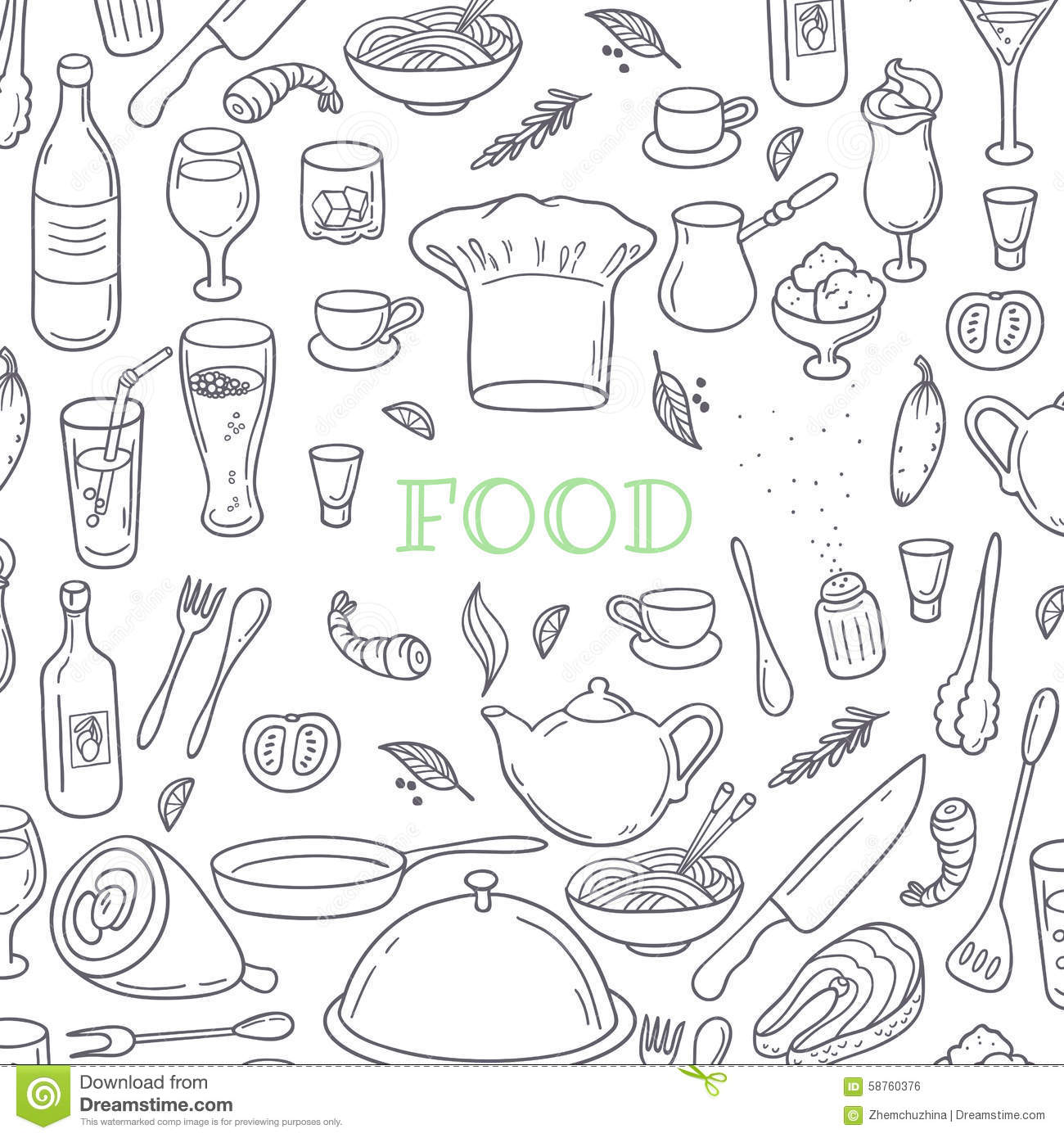 Food And Drink Outline Doodle Background Hand Stock