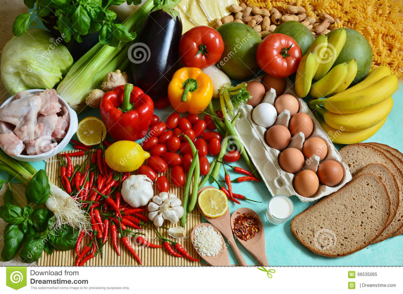 The 5 Food Groups Stock Image Image Of Chicken Fruit