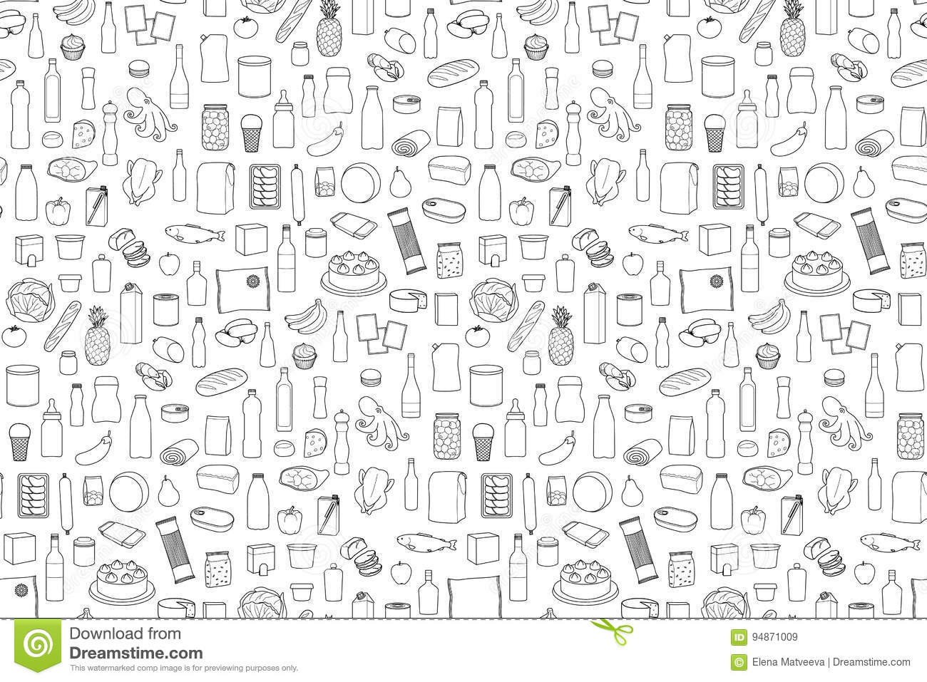 Food Product Set Stock Vector Illustration Of Collection
