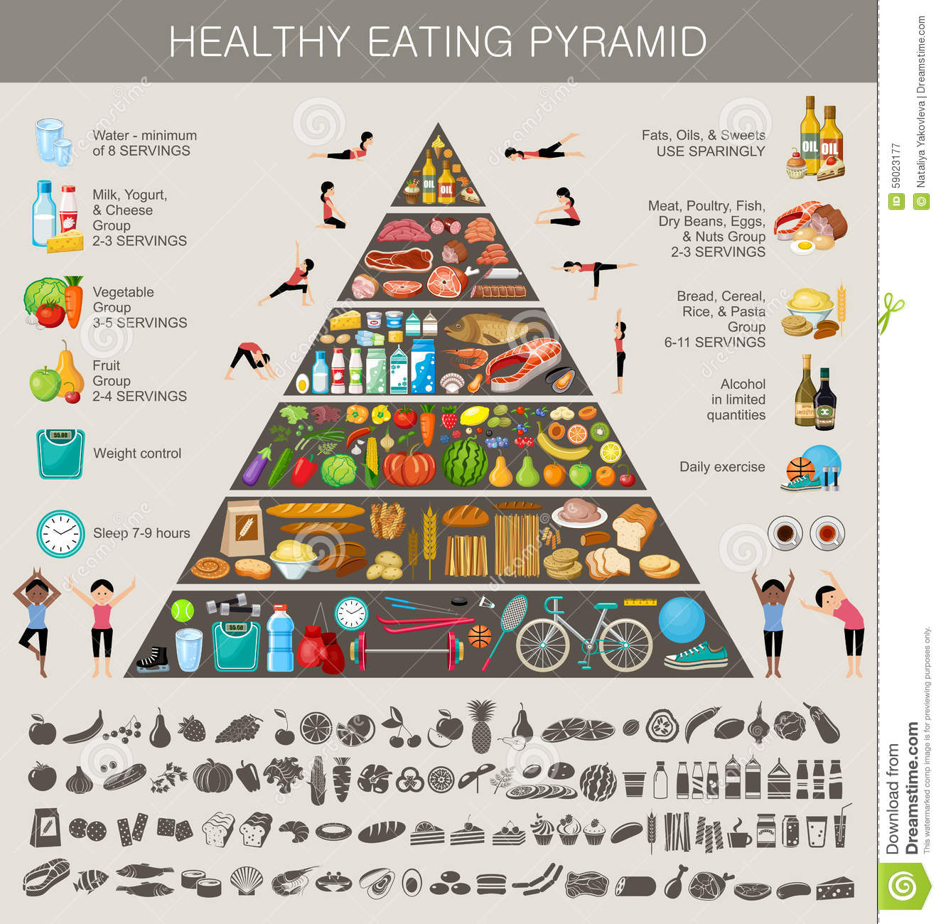 Food Pyramid Healthy Eating Infographic Stock Vector