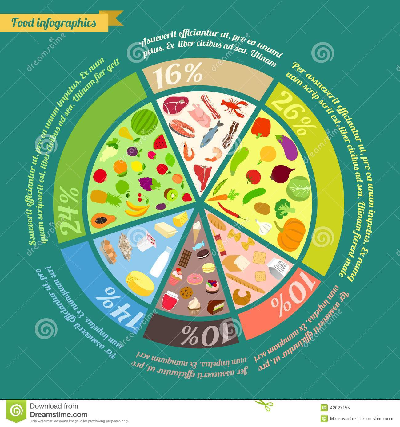 Food Pyramid Infographic Stock Vector
