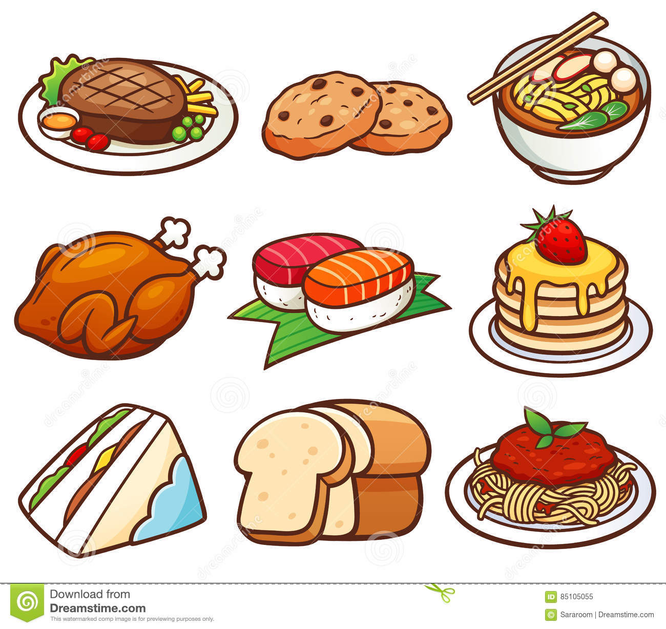 Food Set Stock Vector Illustration Of Steak Pancakes