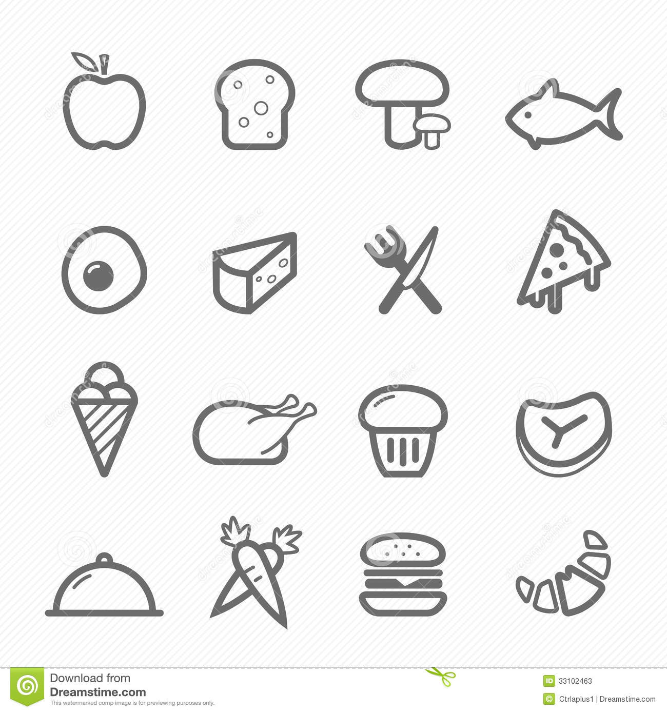 Food Symbol Line Icon Set Stock Vector Illustration Of