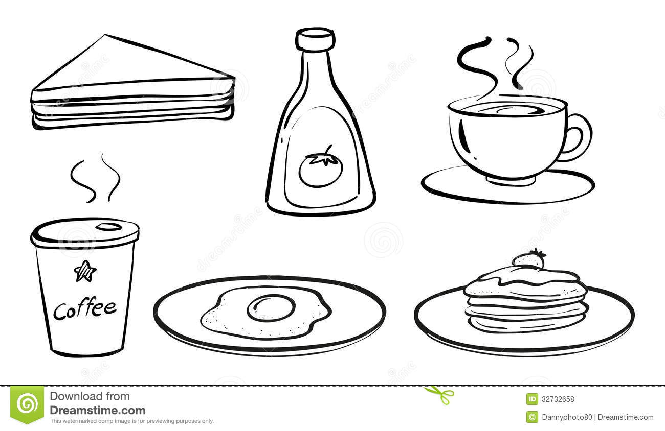 Foods And Drinks For Breakfast Stock Vector