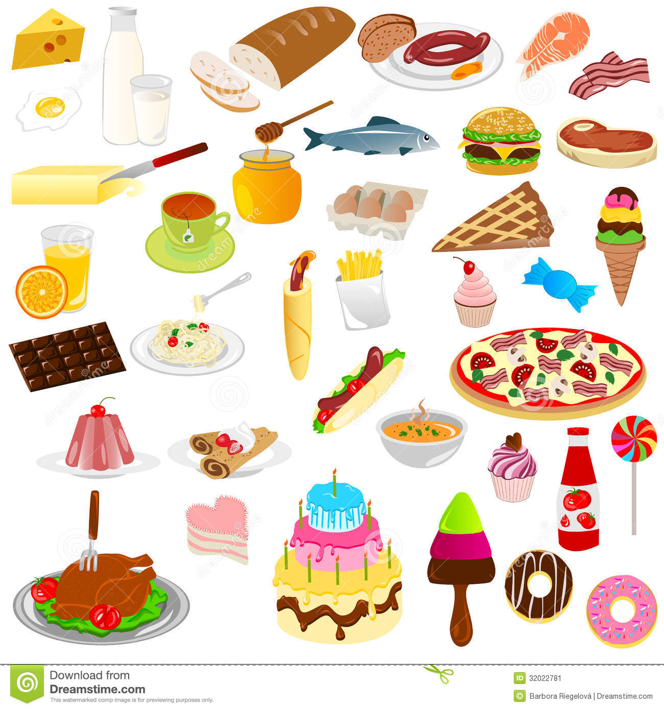 Foods And Drinks Stock Vector Illustration Of Cake Fried