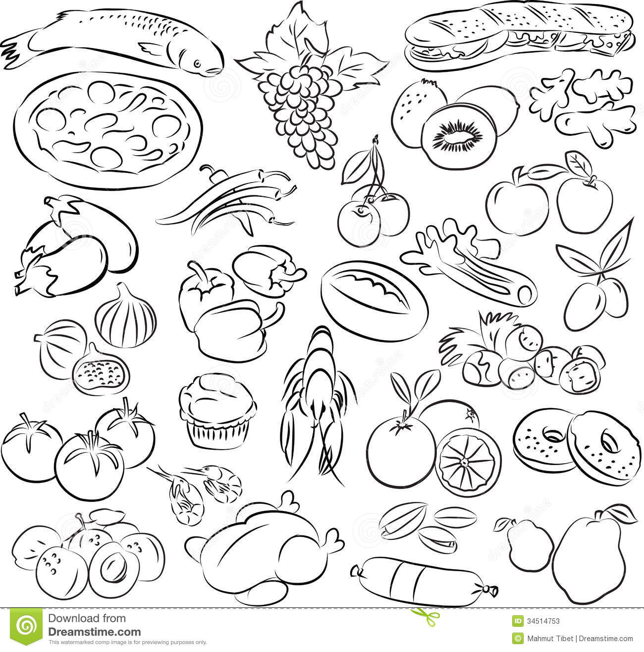 Healthy Food Clipart Black And White