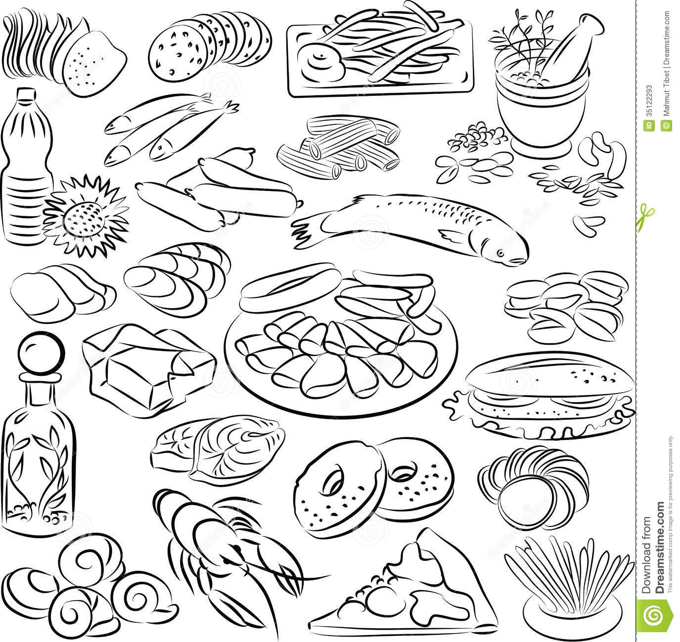 Foods Stock Vector Illustration Of Contour Food Snack