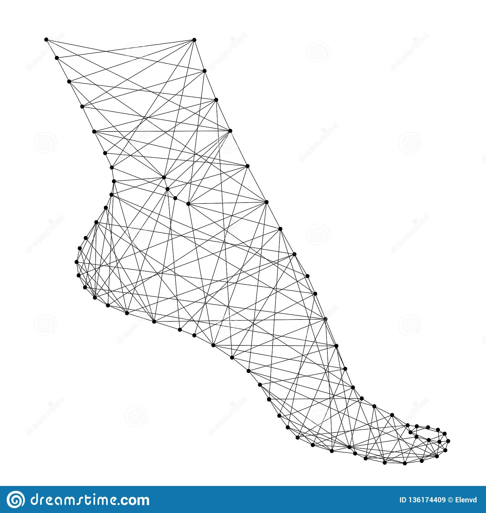 hight resolution of foot female health fitness flexibility from abstract futuristic polygonal black lines and dots vector illustration