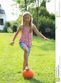 Girls Playing Soccer Barefoot