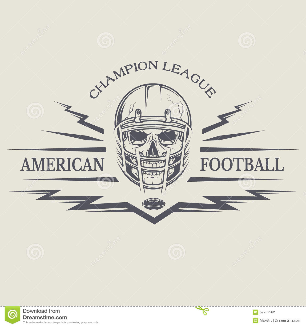 Football With A Skull Wearing A Helmet Stock Vector