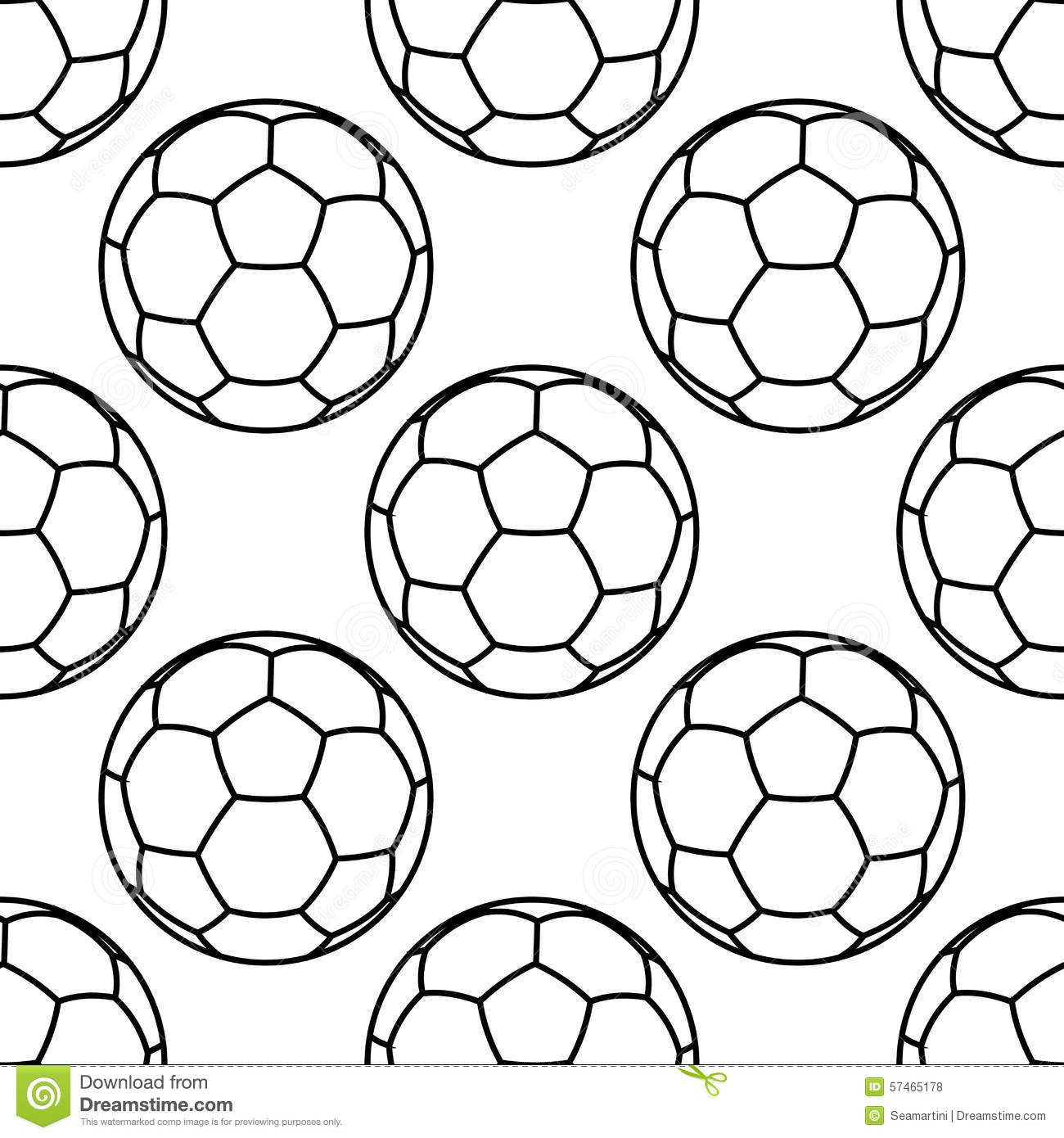 Football Or Soccer Balls Outlines Seamless Pattern Stock