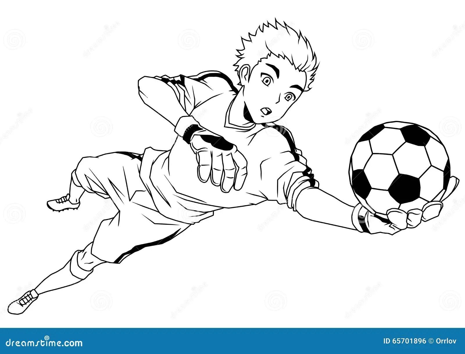 Football Soccer Goalkeeper Catches The Ball Stock Vector