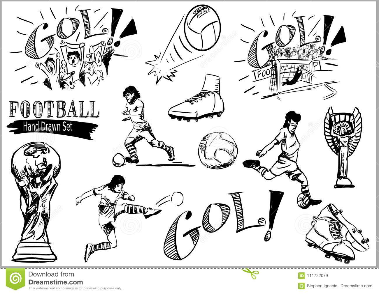 Soccer Word With Player Cutout Vector Illustration