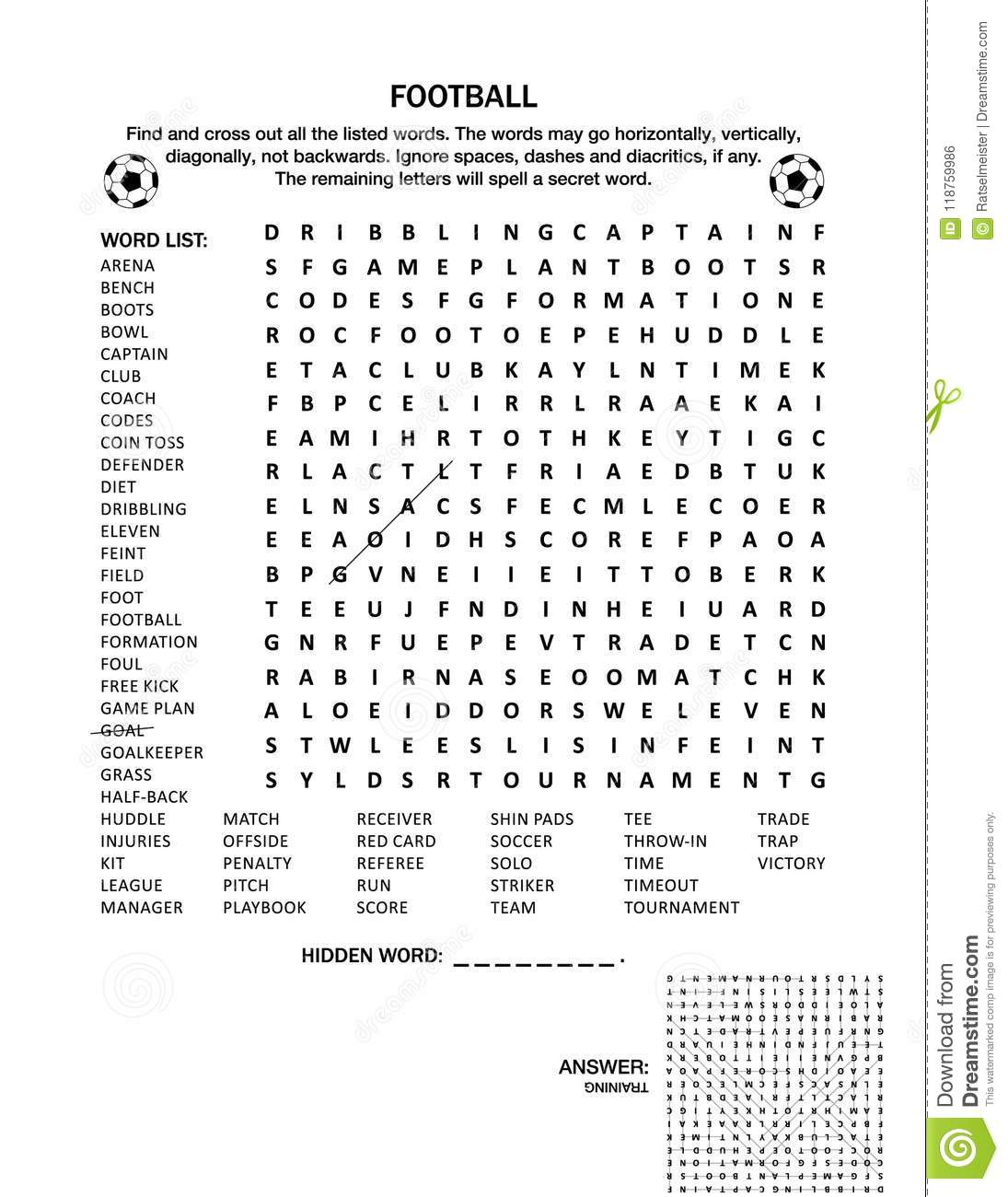 Football Soccer Wordsearch Puzzle Or Word Game Stock