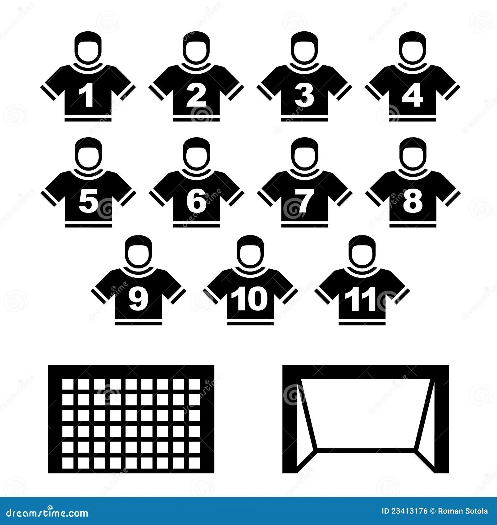 Football Team Black Symbols Royalty Free Stock Image