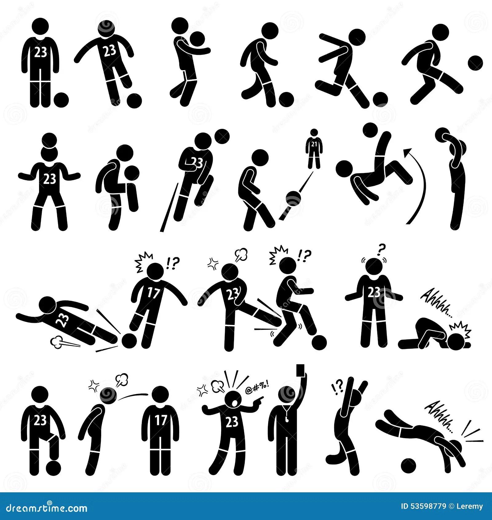 Footballer Actions Poses Cliparts De Footballeur Du