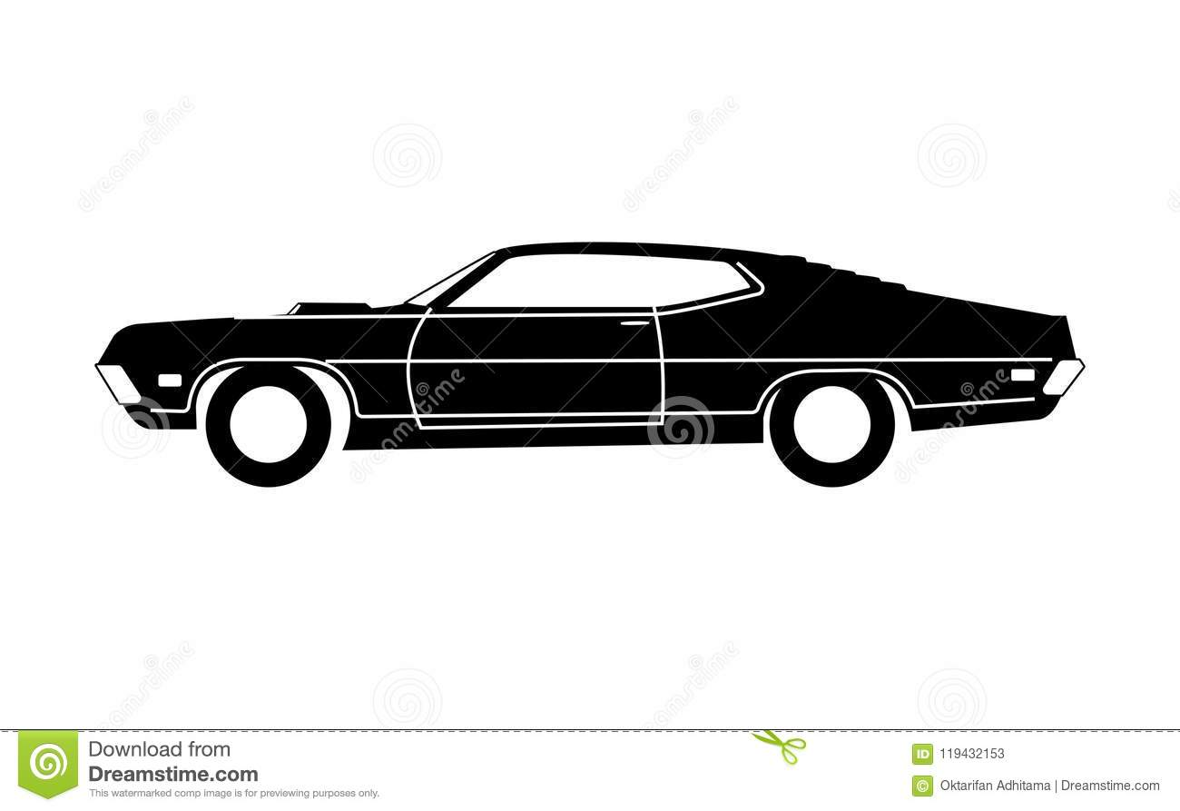 Classic 1970 Car Grayscale stock vector. Illustration of