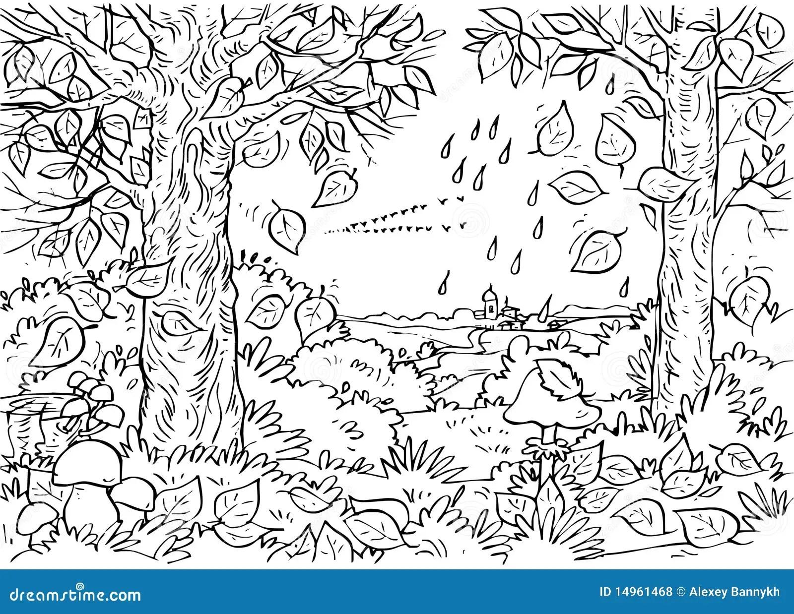 Forest in autumn stock illustration. Illustration of