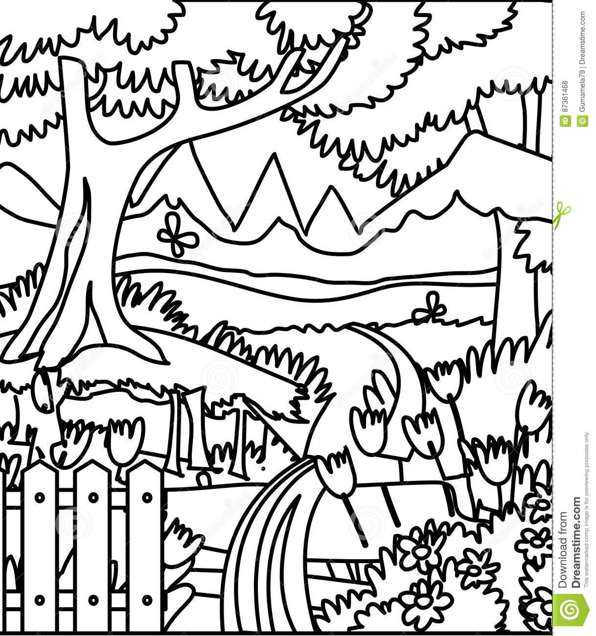 Forest coloring page stock illustration. Illustration of