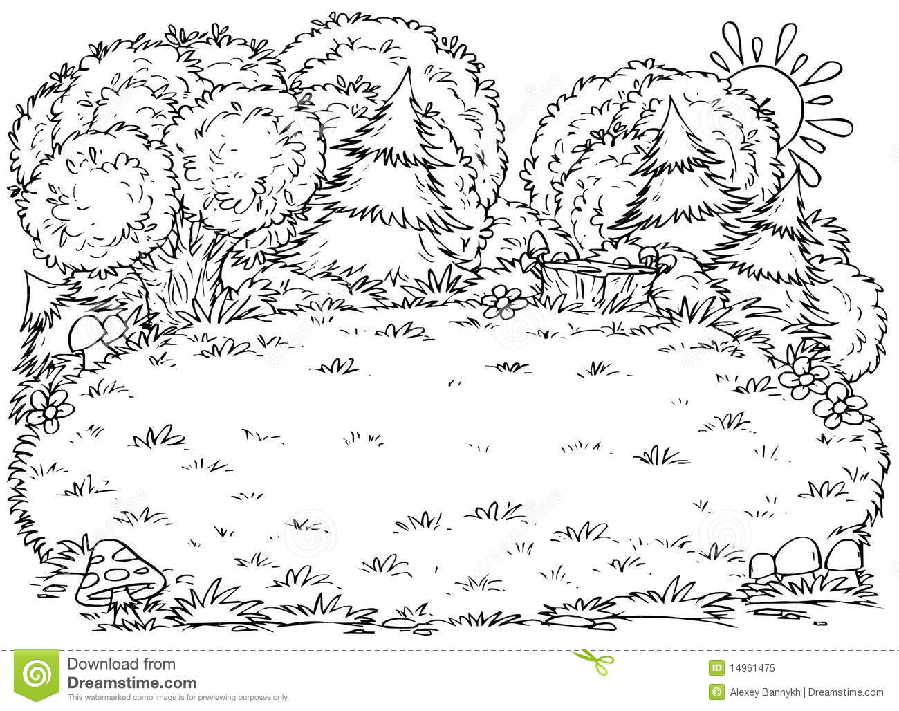 Forest glade stock illustration. Image of drawing, white
