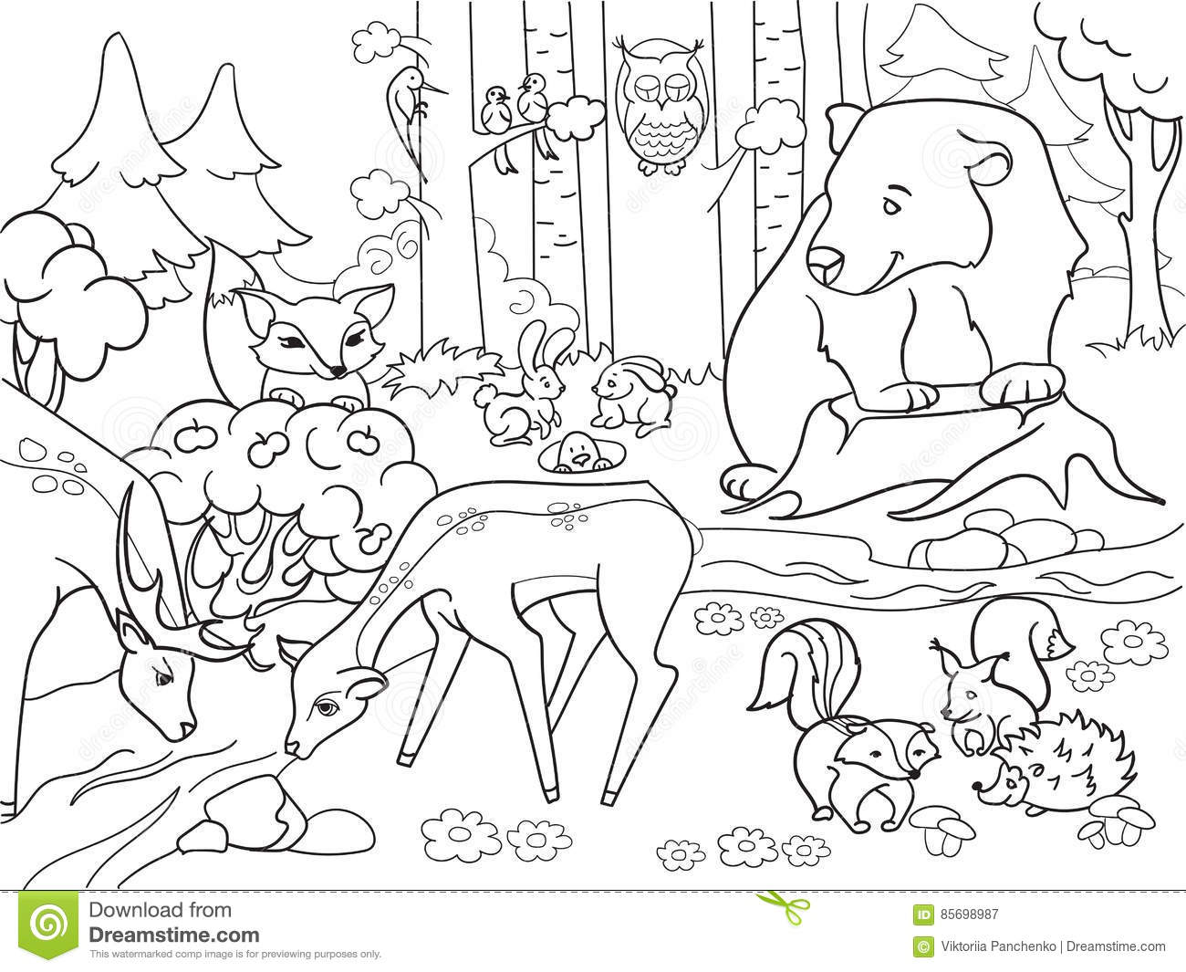 Forest Landscape With Animals Coloring Vector For Adults Cartoon Vector