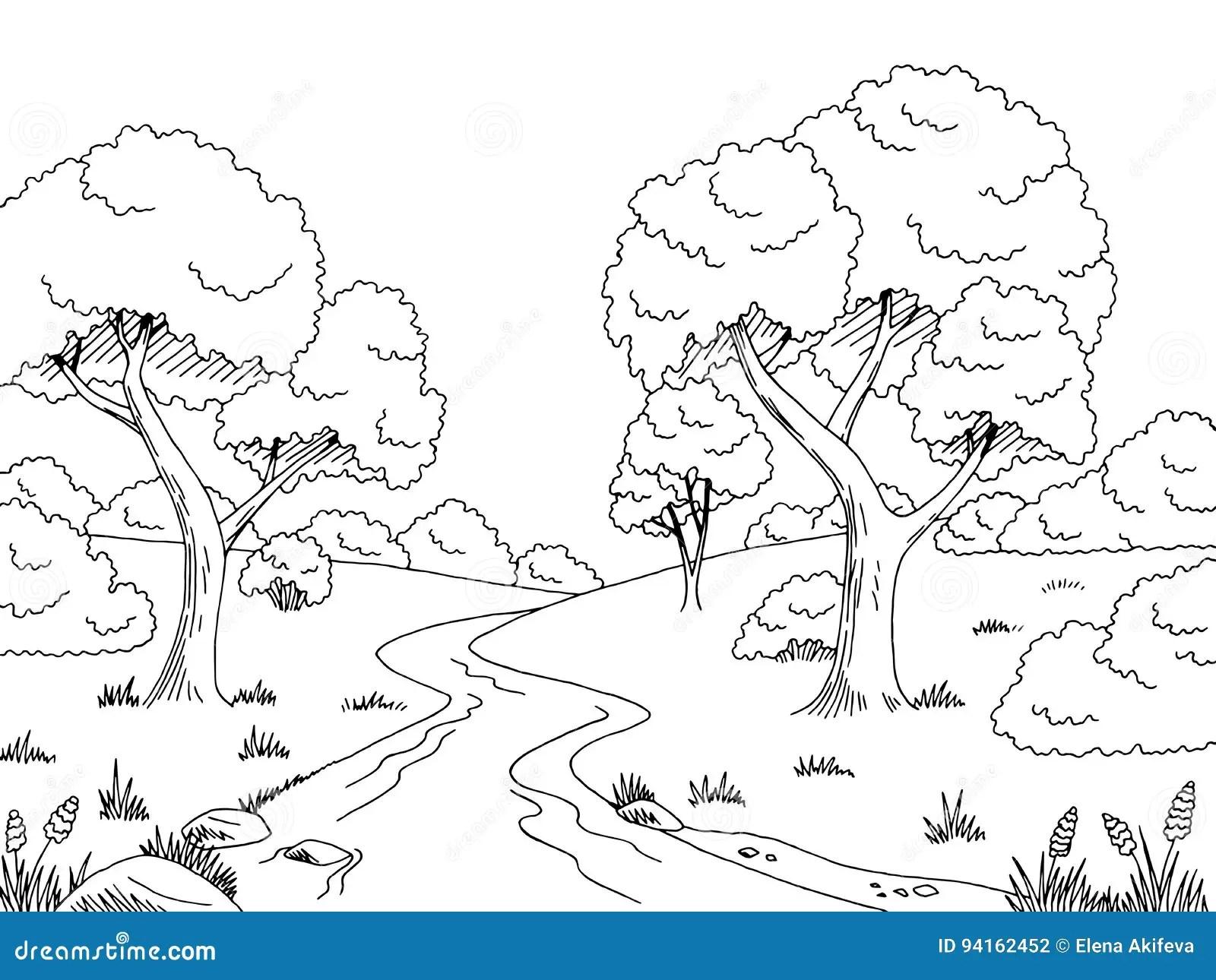 Landscape. Forest River, Outline Cartoon Vector