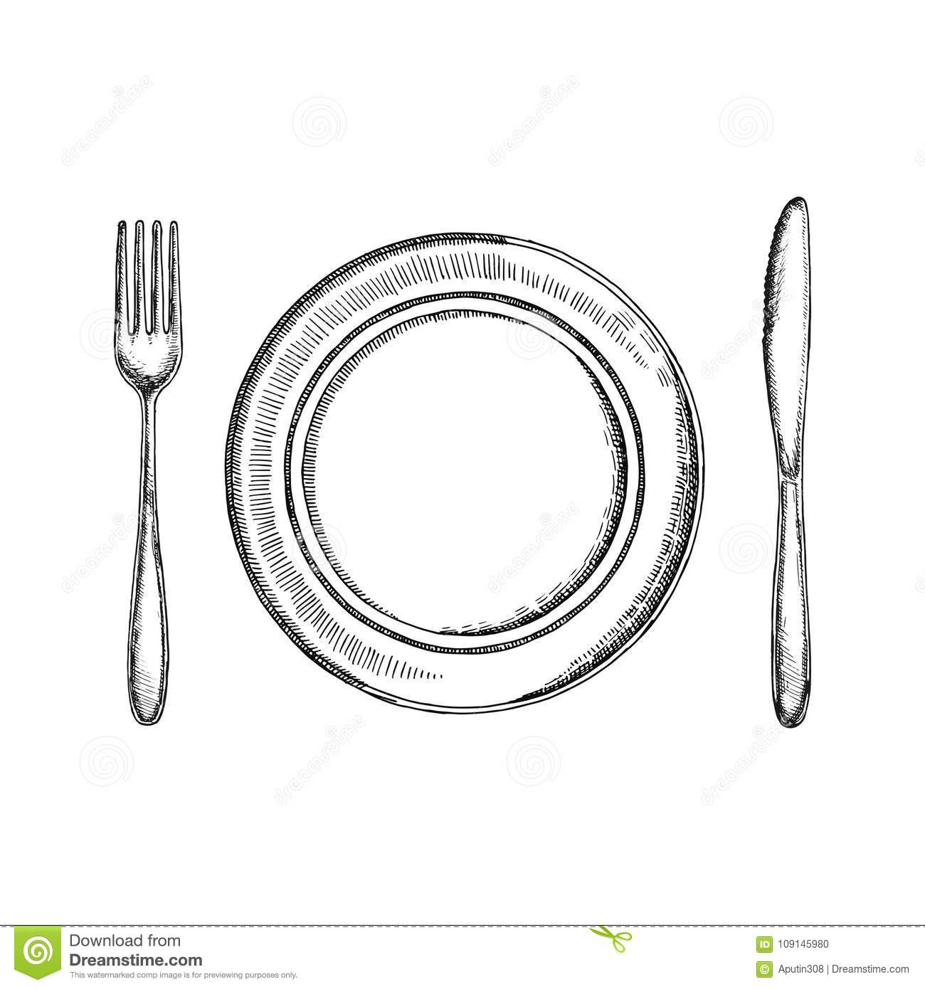 Fork Knife And A Plate Of Cutlery Vector Sketch Isolated